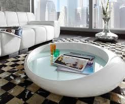 Wohnzimmertisch Modern Couchtisch In Weiß Futuristisch Mit Gläserner Tischplatte