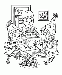 cute kids and happy birthday coloring page for kids holiday