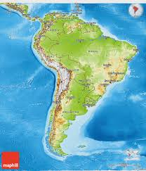 A Map Of America by Physical 3d Map Of South America