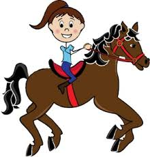 Girl Riding A Horse Clipart
