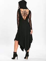 halloween spider web cut out midi handkerchief dress in black 2xl