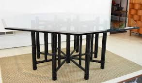 Bamboo Dining Room Furniture by Mcguire Bamboo Table With Octagon Glass Top At 1stdibs