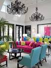 Fushia And Blue And Red In Living Room - Home Interior House Interior