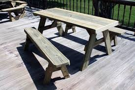 Free Wooden Picnic Table Plans by Diy Patio Picnic Bench Table Set With Solid Wooden Table And