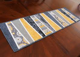 Quilted Table Runners by Modern Table Runner Quilt In Gray And Yellow By Quiltsewpieceful