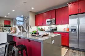 red painted kitchen cabinet