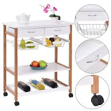 costway white rolling kitchen island trolley cart assembly