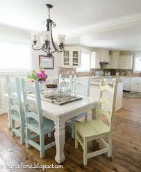 Chairs For Kitchen Table by Love The Idea Of Each Chair A Different Pastel Color With A Rustic