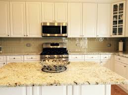 kitchen style large khaki glass tile kitchen backsplash with