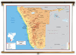 Physical Map Africa by Namibia Physical Educational Wall Map From Academia Maps