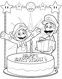 happy birthday coloring page simple cake and candle birthday