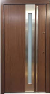 model 027 modern prehung wood exterior door w frosted glass