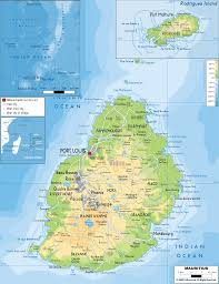 Physical Map Africa by Physical Map Of Mauritius Ezilon Maps