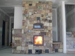 garden masonry heater fireplace for rustic home interior design