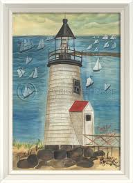 Lighthouse Bathroom Decor by Brant Point Lighthouse White Frame Lighthouses Art Painting