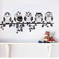 online get cheap baby wall stickers aliexpress com alibaba group five coffee baby owl black wall sticker cartoon decals pvc waterproof hollow out home decor living