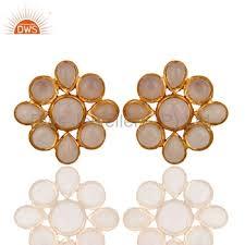 Indian Flower Design Indian Flower Design Gold Plated Brass Stud Earring Rose