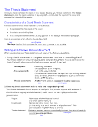 Resume Examples Sample Thesis Essay Give Me An Example Of A Thesis