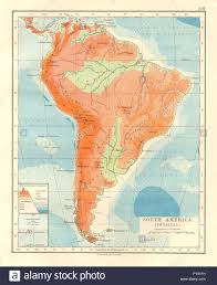 Physical Map Of South America by South America Physical Inset West East Cross Section Johnston