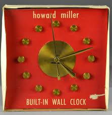 miller mid century modern built in wall clock
