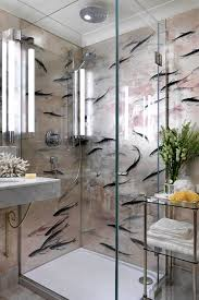Wallpaper In Kitchen Ideas Glass Shower With Fish Wallpaper Fish Wallpaper Shower Cubicles