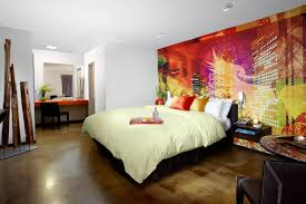 burbank hotel the tangerine is your hollywood home away from home tangerine hotel burbank guest room featuring bright modern mural