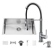 Kitchen Sink With Faucet Set Vigo All In One Undermount Stainless Steel 30 In 0 Hole Single