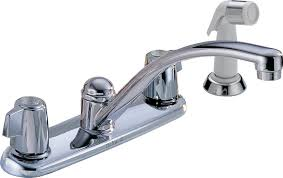 How To Stop A Leaky Kitchen Faucet by Delta 2400lf Classic Two Handle Kitchen Faucet With Spray Chrome