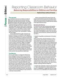 Reporting Classroom Behavior  Balancing Responsibilities to     Reporting Classroom Behavior  Balancing Responsibilities to Children and Families     The Response