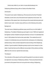 Calam    o   Gettysburg Address Essay with an Outline of the Main     Calam    o   Gettysburg Address Essay with an Outline of the Main
