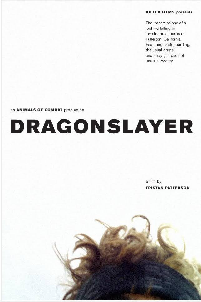 Poster for the movie 'DragonSlayer', in the bottom right corner of the image is a photo of the top half of a man's head.