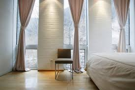 beautiful bedroom with awesome white brick accents wall design