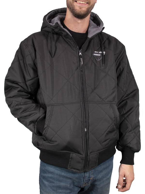 Freeze Defense Fleece Lined Quilted Winter Jacket Coat (Small, Black)
