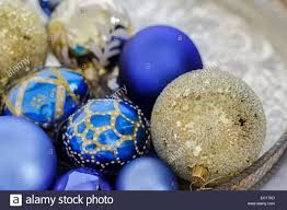 Christmas Tree Decorations Blue And Silver Blue And Gold Christmas Decorations On A Silver Tray Stock Photo