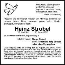Anzeige für Heinz Strobel