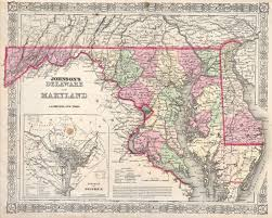 United States Map Delaware by File 1864 Johnson U0027s Map Of Maryland And Delaware Geographicus