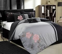 12pc gardena grey pink dark grey luxury bedding set bed in a bag