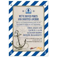 new home party invitations moving housewarming party invitation nautical stripes anchor