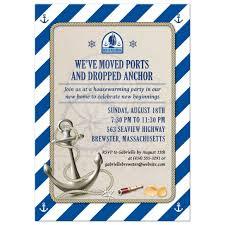 moving housewarming party invitation nautical stripes anchor