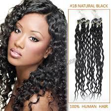 Grey Human Hair Extensions by Inch 1b Natural Black Curly Micro Loop Human Hair Extensions 100s
