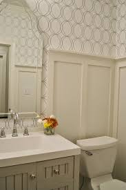 Wainscoting Ideas Bathroom by Allen Roth White Silver Circles Wallpaper Bath Martha Stewart Seal