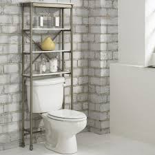 bathroom rack ideas dark brown glossy curved open shelving white