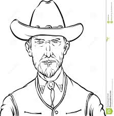 whiteboard drawing cartoon portrait of wild west rough man stock