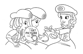 princess sofia with friends coloring page for girls disney for