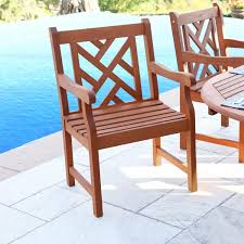 Outdoor Furniture Finish by Amazon Com Vifah V415 Outdoor Wood Arm Chair Natural Wood