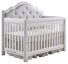 Vintage White Baby Crib by Pali Cristallo Forever Crib In Vintage White With Leather Panel