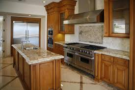 l shape island using granite countertop stainless steel stove