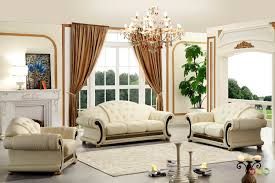 Livingroom Sets Versace Cleopatra Cream Italian Top Grain Leather Beige Living
