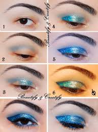 beautify and creatify gradient blue glitter makeup look