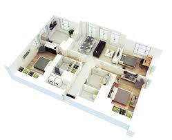 one floor house design plans 3d 50 three 3 bedroom apartment